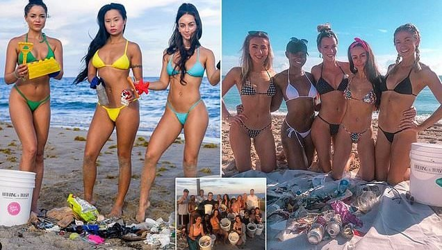 57358a8b55e Beach clean-up group who sweep the shores in BIKINIS are hailed as  'incredible' by fans as they pick up the trash left by party-loving Spring  Breakers